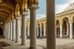 Ancient Thirumalai Nayak Palace with people, sculptures and pillars, Madurai, Tamil nadu, India, May 13 2017 Royalty Free Stock Photos