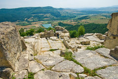 The ancient Thracian city of Perperikon. (also Perpericon) is located in the Eastern Rhodopes, 15 km northeast of the present-day town of Kardzhali, Bulgaria Stock Photo