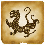 Ancient Chinese tiger graphical symbol. Tiger drawing mark on old papyrus. Ancient Chinese ideogram stamp, metaphor for power, strength, strong, leadership stock illustration