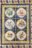 Ancient tiles fruits bird flowers patterns wall, Portugal Stock Photo