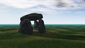 Ancient times. Ancient megalithic monument in open landscape, widescreen format royalty free stock images