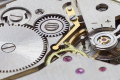 Ancient tiny metal clockwork close up Royalty Free Stock Images