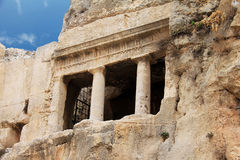 Ancient tomb cave of Bnei Hezir in Jerusalem. The Tomb of Benei Hezir (Hazir) is the oldest of four monumental rock-cut tombs that stand in the Kidron Valley Stock Images