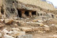 Ancient tomb caves at Kidron valley in  Jerusalem, Israel Royalty Free Stock Photo