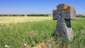 Ancient tomb cross in the green field stock footage
