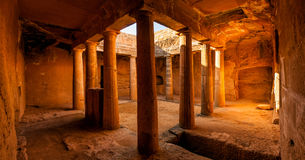 Ancient tomb interior, panoramic view Stock Photography