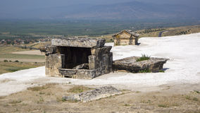 Ancient  tomb. The ruins of an ancient tomb at the site in Hierapolis, Turkey Stock Photo