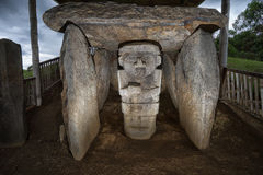 Ancient tomb statue closeup in Colombia. Ancient pre-columbian tomb  in San Agustin Colombia Stock Images