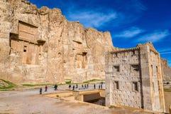Ancient tombs of Achaemenid kings at Naqsh-e Rustam in Iran Royalty Free Stock Photo