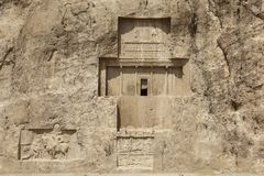 Ancient tombs of Achaemenid kings at Naqsh-e Rustam in the north. Of the administrative center of Shiraz, Iran royalty free stock photography