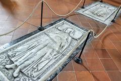 Ancient tombs in the Basilica of Santa Croce, Florence Royalty Free Stock Image