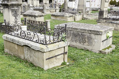 Ancient tombs in a cemetery Stock Image