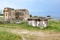Ancient tombs in the necropolis, Hierapolis Royalty Free Stock Photo