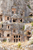 Ancient tombs in old town Myra Stock Images