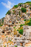 Ancient tombs in the rocks. Royalty Free Stock Photo