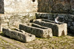 Ancient tombs in Santa Maria da Feira castle royalty free stock photo