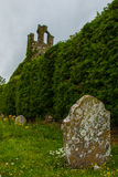 Ancient Tombstone. A long tombstone stands next to the ancient ruins of Clomantagh Church Stock Photography