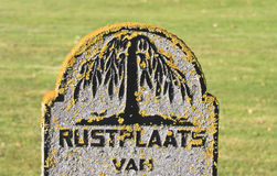 Ancient tombstone at Nes Cemetery, Ameland, Holland Royalty Free Stock Images