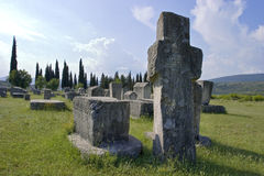 Ancient tombstones. In the field by the road, Radimlja, Stolac, Bosnia Stock Photo