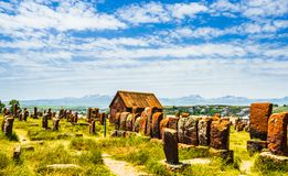 View on Ancient tombstones on cemetery of Noratus in Armenia, near the Lake Sevan in Armenia. Ancient tombstones on cemetery of Noratus in Armenia, near the Lake stock photography