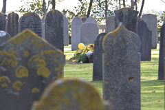 Ancient tombstones at Nes Cemetery, Ameland, Holland Royalty Free Stock Photography