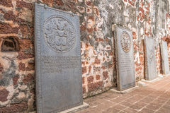 An ancient tombstones in the St. Paul`s Church. The church is listed as UNESCO World Heritage. Royalty Free Stock Image