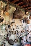 Ancient tools hanging on fishing net stock images