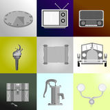 Ancient tools icon set Stock Photography