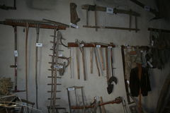 Ancient tools in a museum of rural culture, Ferrere, 1,869 m, Argentera, Maritime Alps (28th July, 2013). Royalty Free Stock Photo