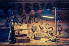 Ancient tools in old locksmiths workshop Royalty Free Stock Photography