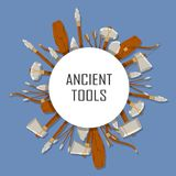 Ancient tools set tound with space for text on blue background. Hunting and military weapon banner prehistoric man. Primitive culture tool in flat style. Round Stock Photos