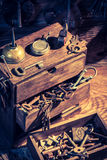 Ancient tools in small locksmiths workshop Stock Images