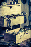 Ancient tools in vintage locksmiths workshop Stock Photography