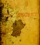 Ancient top secret document. Cracked and dirt-covered top secret document. Yellowed parchment Stock Images