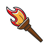 Ancient torch with red flame isolated cartoon illustration Royalty Free Stock Images