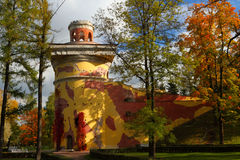 Ancient tower in the autumn park. In the city Pushkin Royalty Free Stock Photo