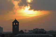 Ancient tower Brandale and sunset. Savona, Italy Royalty Free Stock Photo