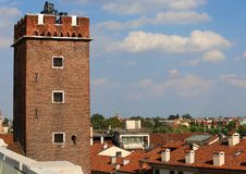 Ancient tower called Tower of Torment in Piazza delle Erbe in Vi Royalty Free Stock Images