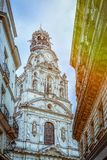 Ancient tower of a church in Nantes. stock image