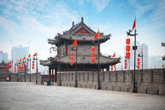 Ancient tower on city wall in Xi'an Royalty Free Stock Photo