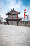Ancient tower on city wall in xian Stock Photos