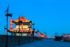 Xian city wall at night Stock Image