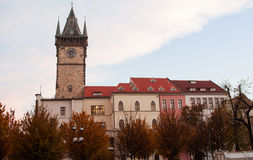 Ancient tower with clock in a Prague Stock Photography