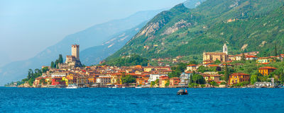 Ancient tower and colorful houses in Malcesine old town Royalty Free Stock Photo
