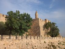 The Ancient Tower of David, Jerusalem. The heavy stone fortified walls of the Old City of Jerusalem, with the The Tower of  Hebrew: מגדל דוד, Migdal Royalty Free Stock Images