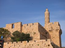 The Ancient Tower of David, Jerusalem. The heavy stone fortified walls of the Old City of Jerusalem, with the The Tower of  Hebrew: מגדל דוד, Migdal Stock Photography