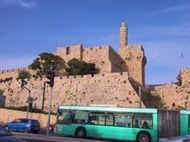 The Ancient Tower of David, Jerusalem. The heavy stone fortified walls of the Old City of Jerusalem, with the The Tower of David Hebrew: מגדל דוד Royalty Free Stock Photography