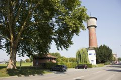 Ancient Tower of groundwater or artesian aquifer or waterworks. Authority for supply to people at Ladenburg town on August 28, 2017 in Baden-wurttemberg Stock Photos