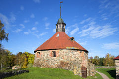 Ancient Tower Lars Torstensson, golden autumn. Korela, Priozersk Stock Image