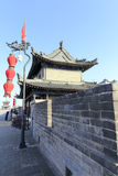 Ancient tower with red lantern on the xian city wall Royalty Free Stock Images